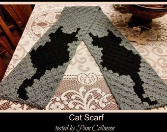 C2C Graph, Cat Scarf, C2C Graph,  Written Word Chart, cat graph, cat c2c, c2c scarf