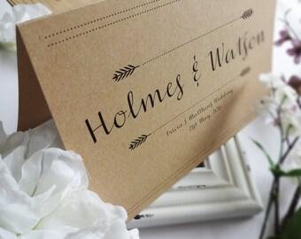 Rustic Kraft Wedding Table Name Cards
