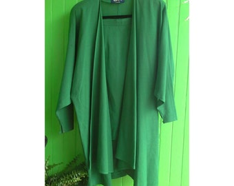 Vintage Jean Muir Studio Kelly Green Wool Langelook Jacket and Skirt 1980s London