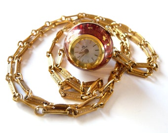 Antique Guilloche Enamel Bucherer Pendant Watch and Gold Filled Chain Swiss Made Orange Red Runs Great