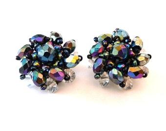 Western Germany Clip Earrings Blues Purples AB Vintage Clipon Earrings from TreasuresOfGrace