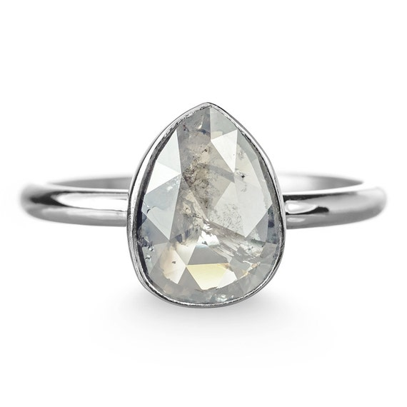 2 39 Carat Grey Diamond Engagement Ring by PointNoPointStudio