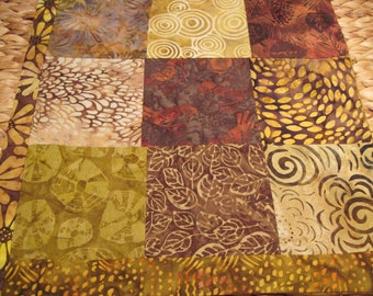 """14"""" x 14"""" Batiks Pillow COVER - 9 Chocoloate Mocha Brown Squares of Nature Song Birds of Happiness"""