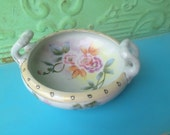 Vintage Hand Painted Porcelain Bowl with Handles, Vintage Floral Bowl from Japan, Vintage Home Decor Bowl