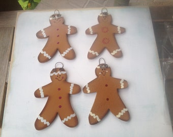 4 Wooden Gingerbread Christmas Ornaments, Christmas Home Decor Wood