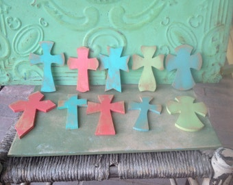 Mixed Lot of Rustic Crosses Crafting Supplies, Set of Ten Mdf Crosses for Do It Yourself Projects