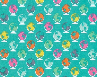 Noteworthy by Erin McMorris for Free Spirit - Globetrot - Sea Blue - 1/2 Yard Cotton Quilt Fabric 816