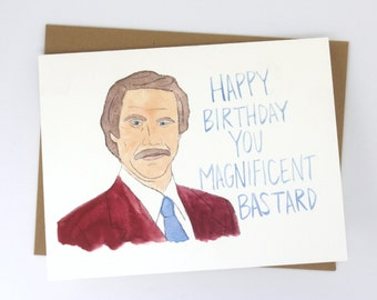 Anchorman // Ron Burgundy Birthday Card