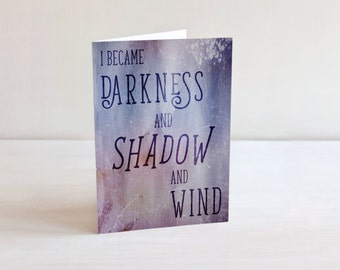 ACOMAF Quote 5 x 8 Blank Greeting Card - A Court of Mist and Fury Sarah J. Maas Literary Quote Rhys Feyre Rhysand Book Nerd Fandom Fan