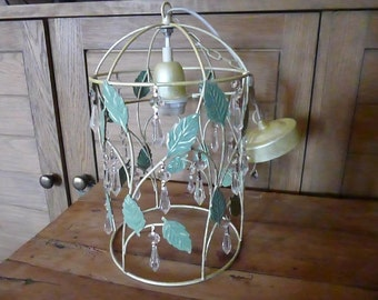 Unusual Lantern Toleware Pendant Cage Light Ceiling Suspension French Shabby Chic With Crystal Drops