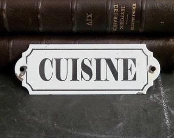 French Vintage Kitchen enamel sign . Shabby chic .Cottage. Wall hanging. Kitchen decor