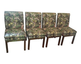 John Widdicomb Floral Parsons Chairs With Brushed Bronze Bases Set Of 4