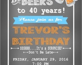 CHEERS & BEERS 30th 40th 50th 60th Party Happy Birthday Party Invitations Set of 12 {1 Dozen}- Party Packs Available