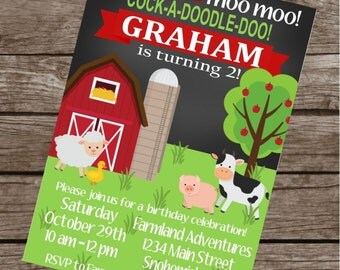 BARNYARD BASH Farm Themed Happy Birthday Party or Baby Shower Invitations Set of 12 {1 Dozen}