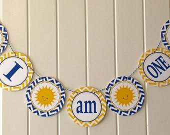 You Are My SUNSHINE Highchair Banner 1st Birthday Party Royal Blue Yellow
