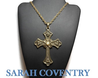 Sarah Coventry cross pendant, Peace Cross, Limited Edition 1975, large antiqued gold tone with original chain, large bail, faux pearl center