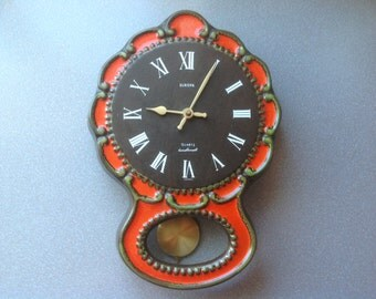 Vintage West German wall clock ceramic retro working