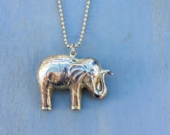 Sterling Silver Elephant Necklace Unique Lucky Trunk up Pendant Vintage Fine Jewelry Gifts for her