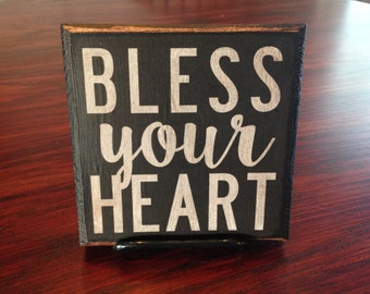 Vintage Wood  'Bless Your Heart' Sign