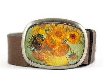 Floral Belt Buckle, Van Gogh Belt Buckle, Sunflowers Belt Buckle, Wearable Art
