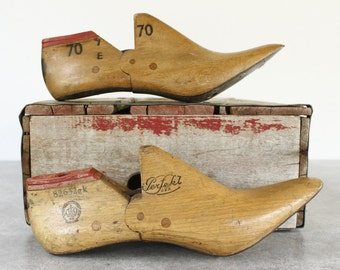 Vintage Wooden Shoe Forms...TWO Shoe Trees....Nordic Style Decor.