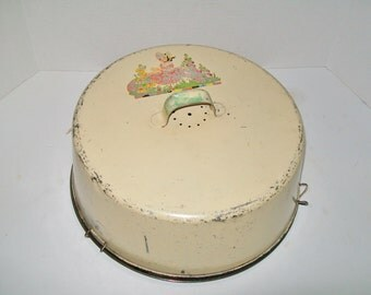 Vintage Cake Carrier Metal Two Piece Ivory Enamelware 1940's - 1950's