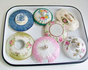Vintage Porcelain Lids Only YOUR CHOICE Replacement Lids Collectibles