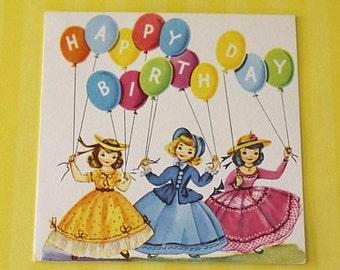 Vintage 1950s BIRTHDAY Card - Ladies and BALLOONS - Unused + Envelope