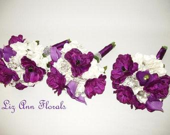 Three Silk  DARK Purple BRIDESMAID Bouquets, Purple Anemone Real Touch Purple Calla Lilies Silver Brooch Bouquet