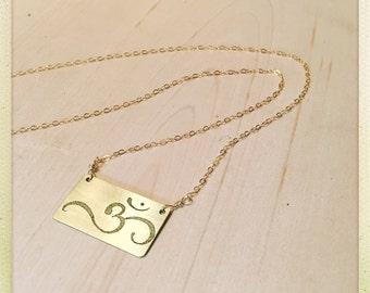 Om | gold filled | brass | etched