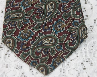 Vintage Silk Tie Olive Green and Burgundy by Cabralli