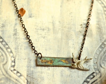 Soar Patina Bar Necklace with Bird Charm and Brass Chain