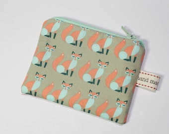 fox purse, coin purse, cream with fox print in mint and peach, foxes