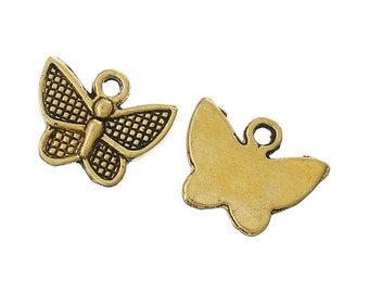2 Butterfly Charms Antique Gold Finish 13 x 10 mm U.S Seller - sc115