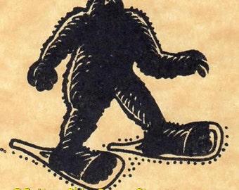 Snowshoe Sasquatch Rubber Stamp Bigfoot Yeti