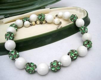 Green Rhinestone Choker White Bead  Necklace