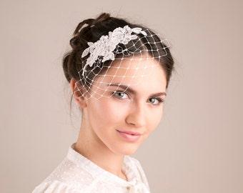Ivory lace birdcage, petite birdcage veil, wedding birdcage
