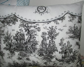Embroidered Quilted Black Toile Print Pillow