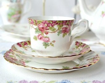 """English bone china tea set: Royal Stafford 'Olde English Garden"""" cup, saucer and plate, perfect for a garden tea party"""