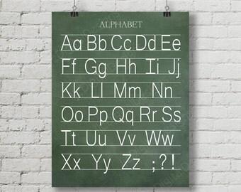 Vintage Alphabet Manuscript Print Classroom Poster Digital Chalkboard Word Art 16x20 - Back to School Teacher Appreciation Gift