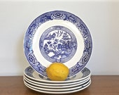 Vintage Blue Willow Dinner Plates Blue Transferware China Earthenware Set of Six Chinoiserie Chic