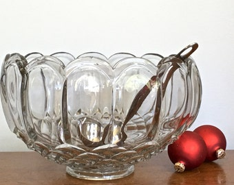 Vintage Punch Bowl Clear Glass Punch Bowl Holiday Barware Bar Serving Celebrations Party Serving Barware 2 Gallon / 8 Quarts