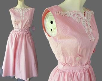 50s 60s Toby Lane Dress Deadstock Shirtwaist Sundress Pink Cotton