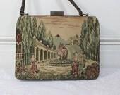 Vintage Tapestry Purse/ Handbag- Antique- Italian Renaissance - Roman Column Scene- Manders by La Marquise, Made in Italy