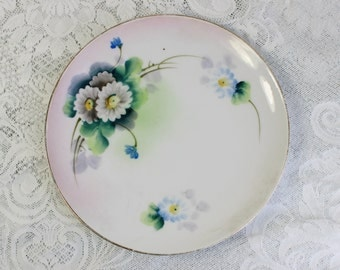 Meito Japan- Hand painted decorative plate- Antique/ vintage China- Small Dessert Plate- Blue, White, Green Floral design- soap dish