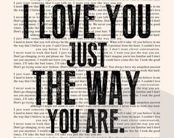 Just the Way You Are Book Page - Billy Joel Lyrics Typography Print