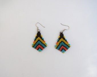 Macrame earrings-boho-lightweight-knotted nylon cord-handmade