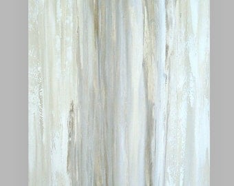 """Art Abstract Painting Shabby Chic Acrylic Abstract Painting on Canvas by Ora Birenbaum Titled: White Clouds 30x40x1.5"""""""