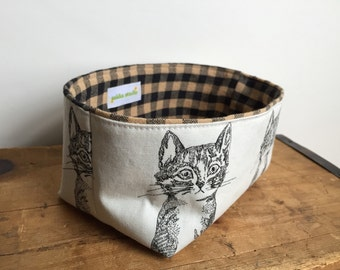 Cat Fabric Basket, Cute Cat Fabric Bin, Black and White Fabric Basket, Fabric Storage, Black Gingham Check Basket