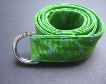Lilly Pulitzer Unisex Bright Green Giraffe Design Silk Ribbon Belt